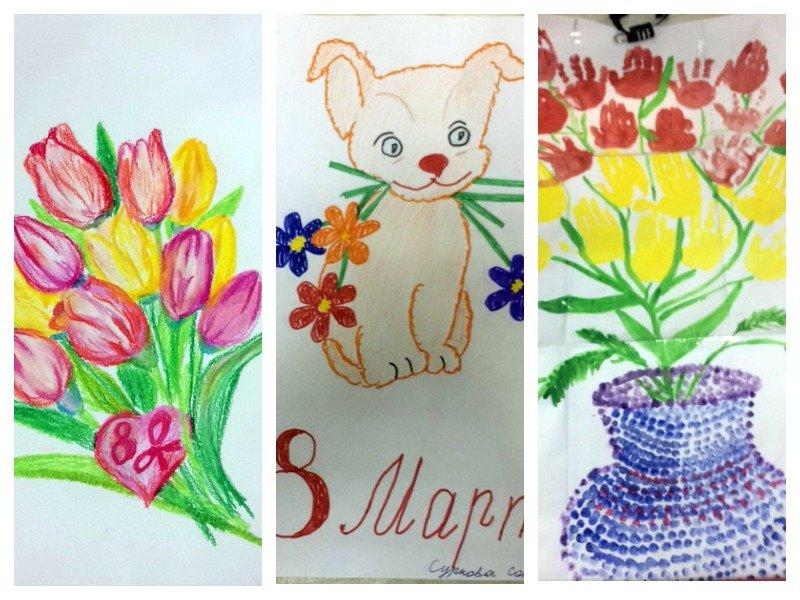 Урок в школе рисование открытки к 8 марта